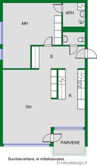 Tilat ovat avarat ja käytännölliset: vaatehuone, pieni ruokailutila ja erillinen wc lisäävät asumismukavuutta