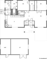 117 m2 väljää asumista + autotalli