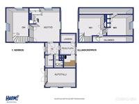 Alakerrassa tupakeittiö ja mh. Yläkerrassa 2 makuuhuonetta. Siipirak. erill.WC, ph+ sauna+varasto