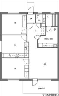 Pohjakuva 3h,k,s   - 73 m2