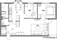 Pohjakuva - 3h+k+s / 67,5 m2