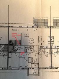 Pohjakuva (OH ja TH välinen seinä poistettu ja saunan ovi siirretty käytävän puolelle)