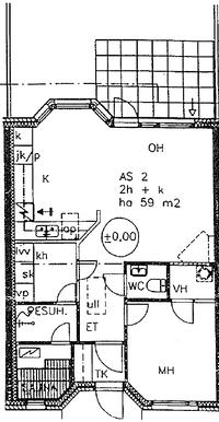Asunnon pohja on peilikuva kuvaan verrattuna, kuva on asunnosta 2.