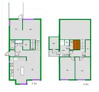 1. kerros ylin (sisäänkäynti) ja keskikerros (olohuone), 2. kerros alin kerros (makuuhuoneet)