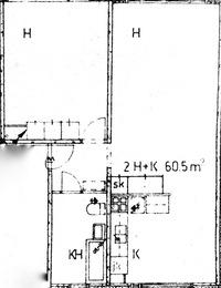 Pohjakuva on vain suuntaa antava, ei mittakaavassa. Pohjakuvasta puuttuu myös parveke.