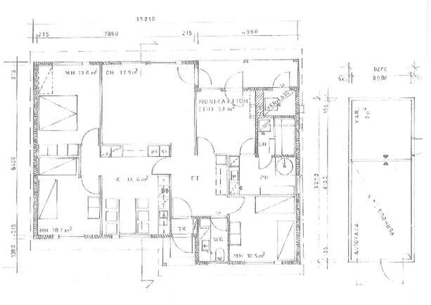 Ohjeellinen piirustus, asuin- ja varastorakennuk...