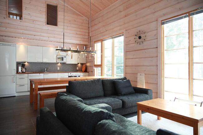 Kompakti avokeittiö sulautuu kauniisti yhteiseksi tilaksi olohuoneen kanssa