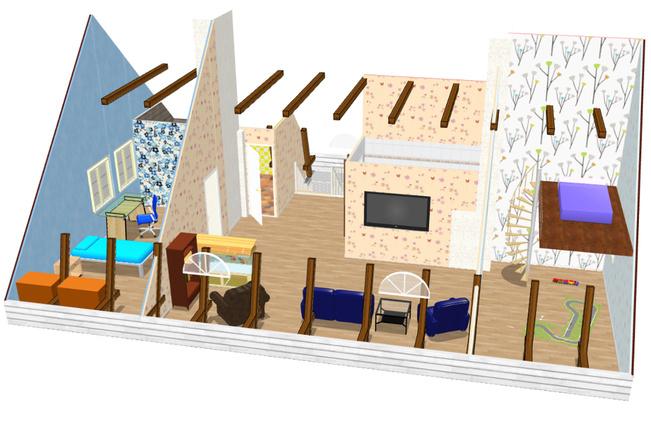 Hahmotelma yläkerran lisärakentamiseksi. Katso...
