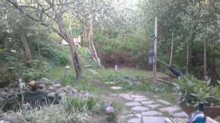Puutarhanäkymä saunaterassilta.