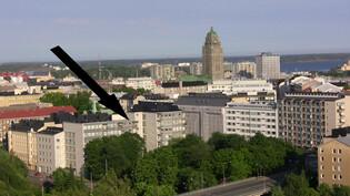 Talo Linnanmäeltä. Nuoli osoittaa asuntoa.