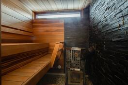 Saunarakennuksessa on ihanat löylyt antava puukiuas.