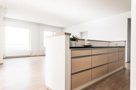Olohuone ja keittiö ovat nykyaikaisesti yhtenäistä tilaa.