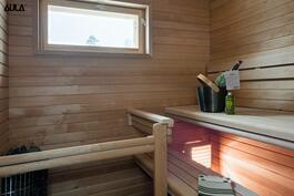 Viihtyisä sauna.