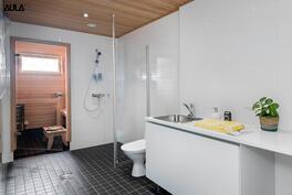 Tilava ja toimiva kylpy- ja kodinhoitohuone.