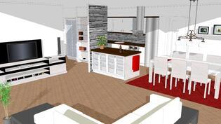 Havainnekuva olohuoneesta keittiöön
