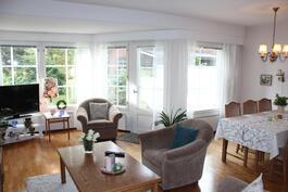 Olohuone ja ruokailutila - kulku omalle piha-alueelle