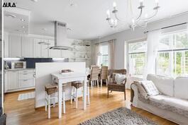 Saareke jakaa yhtenäisen keittiö-/ olohuonetilan.