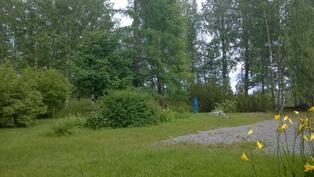 Etupihalla on pensaita ja rakennusten ympäristö on hoidettu.