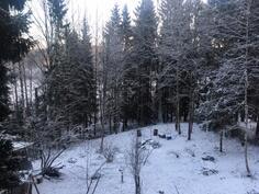 Näkymä alapihalle talvella