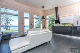 Olohuone ja keittiö on yhtä upeaa tilaa!