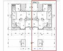 Pohjakuva - punaisen merkitty B huoneisto, jossa asutaan.