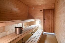 Taloyhtiön sauna pohjakerroksessa