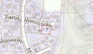 Tontin rajat merkitty karttaan punaisella