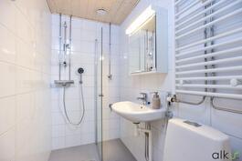 Kylpyhuone on valoisa ja toimiva