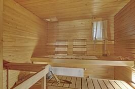 Oma tilava, ikkunallinen sauna.