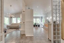 Vasemmalla olohuone, oikealla keittiö