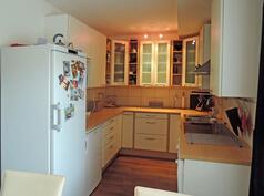 U-mallinen keittiö. Erillinen jääkaappi ja pakastin