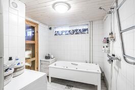 Alakerran kylpyhuone.