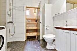 Kylpyhuone ja sauna täysin uusitut 2013/ Badrum o. bastu totalrenoverade 2013.