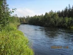 Vajaan parinsadan metrin päässä virtaava Äkäsjoki