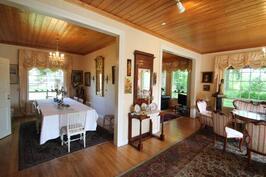 Olohuone, kirjasto ja ruokahuone