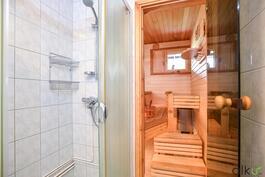 Käytännöllinen suihkukaappi on heti saunan vieressä.