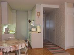 Vasemmalla keittiö. Makuuhuone on keittiön takana käytävän päässä.