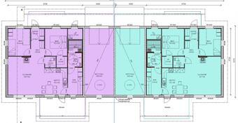 Erilliset huoneistot; vain autotalleilla yhteinen seinä naapurin kanssa.
