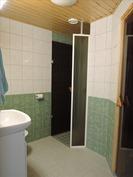 kylpyhuone/wc, suihkunurkkaus ja ovi saunaan