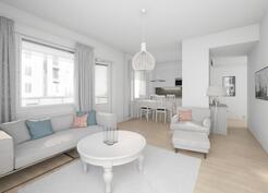 Esimerkkikuva 51,5 m2:n asunnosta