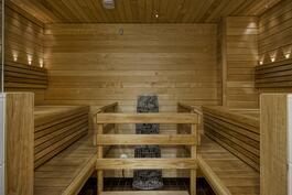 Tilava sauna, jossa viihtyisät valot ja tyylikäs kiuas.