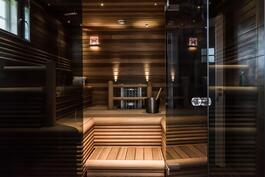Näyttävä sauna kokolasiseinällä