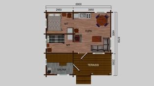 Myös 37 m2:n malli ja hinta tälle 46900 euroa samoilla ehdoilla