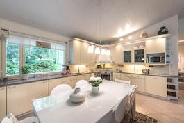Vaalean sävyinen keittiö, jossa kivitasot ja uudet rosteriset kodinkoneet