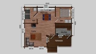49 m2:n loma-asunnon pohjakuva ja hinta olisi 66900 euroa.