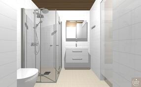 Havainnekuva alakerran kylpyhuoneesta.