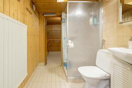 Kellarikerroksessa saunaosasto ja kylpyhuone