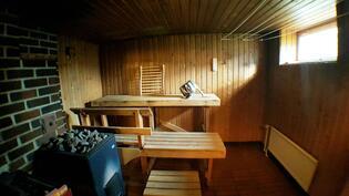 Iso sauna, jossa sekä puu- että sähkökiuas