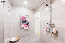 Tyylikäs kylpyhuone (1/2); toinen talossa olevista suihkutiloista.