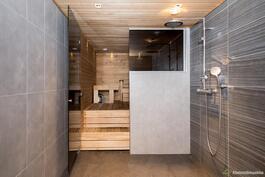Kaunissävyinen sauna.